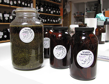 Yard Woman tinctures are may by slowly extracting the botanicals in 40% grade alcohol for at least 180 days.