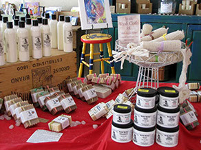 Windrift soaps and lotions on table in shop